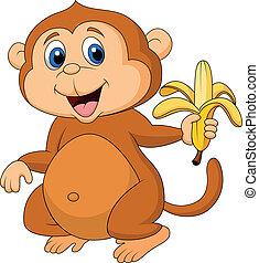 carino, cartone animato, mangiare, scimmia, banana