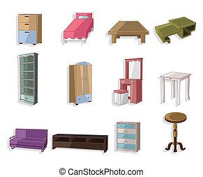 carino, cartone animato, mobilia, icona, set
