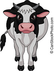carino, cartone animato, mucca