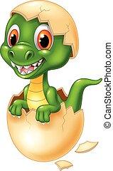 carino, cartone animato, ombreggiatura, dinosauro