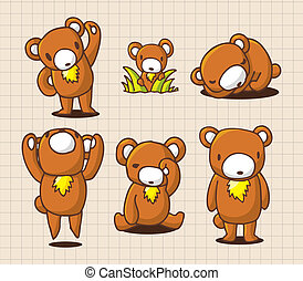 carino, cartone animato, orso