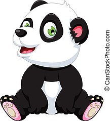 carino, cartone animato, panda, seduta