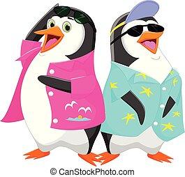 carino, cartone animato, pinguino, vacanza, estate