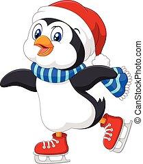 carino, cartone animato, pinguino