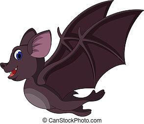 carino, cartone animato, pipistrello, volare