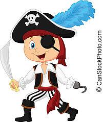 carino, cartone animato, pirata