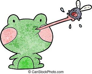 carino, cartone animato, rana prende, mosca, con, lingua