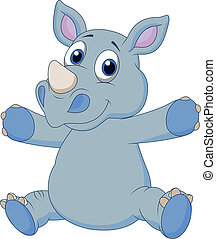 carino, cartone animato, rinoceronte