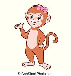 carino, cartone animato, scimmia