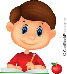 carino, cartone animato, scrittura, libro, ragazzo