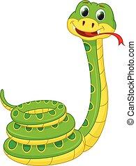 carino, cartone animato, serpente