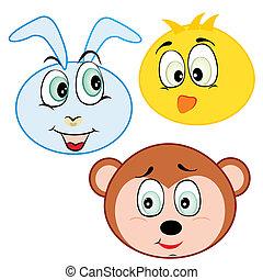 carino, cartone animato, testa animale, icone