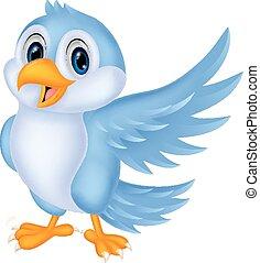 carino, cartone animato, uccello blu, ondeggiare
