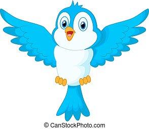 carino, cartone animato, uccello blu, volare