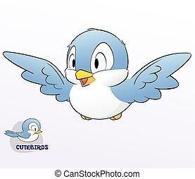 carino, cartone animato, uccello