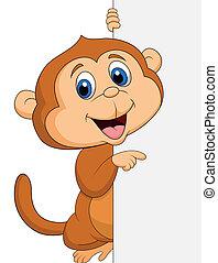 carino, cartone animato, vuoto, scimmia, segno