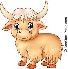 carino, cartone animato, yak, isolato