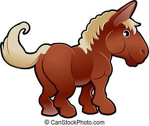 carino, cavallo, animale fattoria, vettore, illustrazione