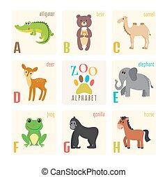 carino, cavallo, animali, alligatore, gorilla, alfabeto, orso, cammello, zoo, cervo, rana, elefante, cartone animato, style.