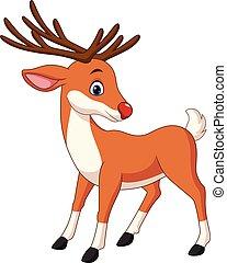 carino, cervo, cartone animato