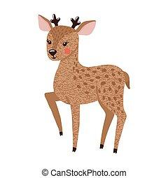 carino, cervo, isolato, mano, white., disegnato