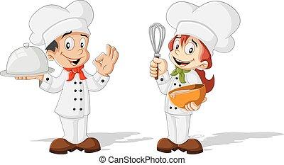 carino, chef, cartone animato, bambini