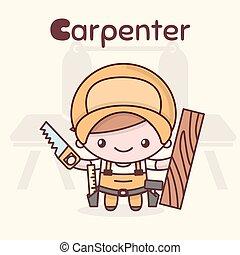 carino, chibi, kawaii, characters., alfabeto, professions., il, lettera c, -, carpenter.