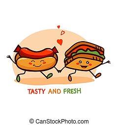 carino, cibo, digiuno, logotipo, cartone animato, icona