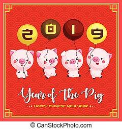 carino, cinese, augurio, maiale, maiali, presa a terra, anno, nuovo, palloni, scheda