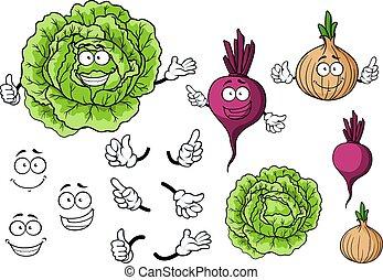 carino, cipolla, verdura, cavolo, barbabietola, cartone animato