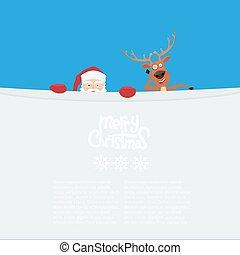 carino, claus, renna, guardando dietro, santa, billboard., cartone animato, vuoto