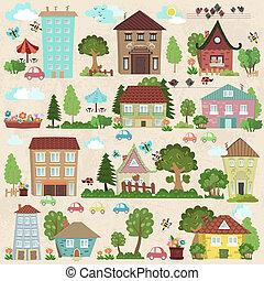 carino, collezione, case, disegno, albero, lei