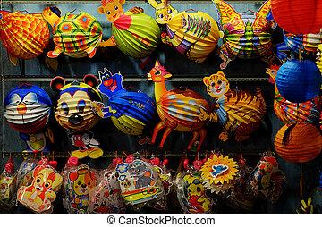 carino, colorito, animale, lanterna