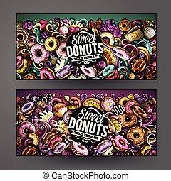 carino, colorito, donuts, mano, vettore, disegno, disegnato,...