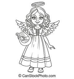 carino, coloritura, angelo, delineato, costume, ragazza, pagina