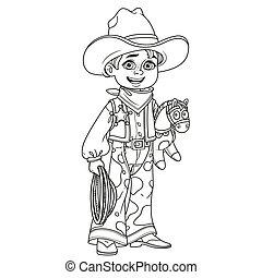 carino, coloritura, ragazzo, delineato, cowboy, costume, pagina
