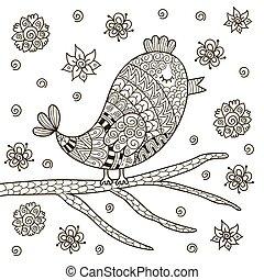 carino, coloritura, seduta, libro, ramo, zentangle, uccello