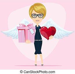 carino, compleanno, augurio, angelo, card.