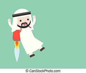 carino, concetto, affari, razzo, zaino, volare, arabo, uomo affari, situazione, condottiero
