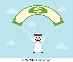 carino, concetto, cielo, affari, conto, dollaro, saltare, arabo, paracadute, amministrazione, saudita, situazione, usando, tipo, rischio