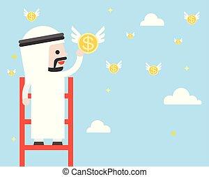 carino, concetto, cielo, affari, volare, scala, monete, arabo, passo, amministrazione, saudita, cogliere, uomo affari, ricco, situazione