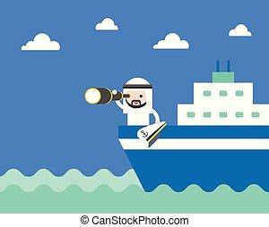 carino, concetto, monocular, ricerca, o, arabo, saudita, mare, uomo affari, nave, condottiero, visione