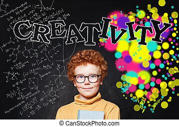 carino, concetto, ragazzo, faccia, creatività, educazione