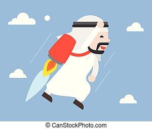 carino, concetto, volare, cielo, jetpack, arabo, uomo affari, condottiero