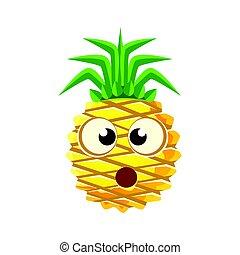 carino, confuso, face., carattere, illustrazione, vettore, ananas, cartone animato, emoji
