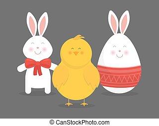 carino, coniglietto, pasqua, vettore, uovo pollo