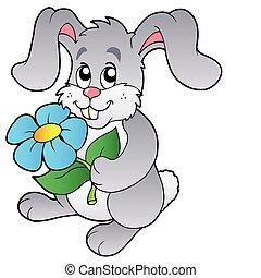 carino, coniglietto, tenendo floreale