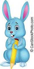 carino, coniglio, cartone animato, giallo, presa a terra