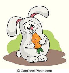 carino, coniglio, illustrazione, vettore, carrot., presa a terra, cartone animato