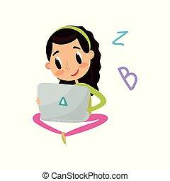 carino, conoscenza, colorito, pavimento, concetto, laptop, seduta, carattere, illustrazione, ragazza, vettore, computer, fondo, bianco, educazione, cartone animato